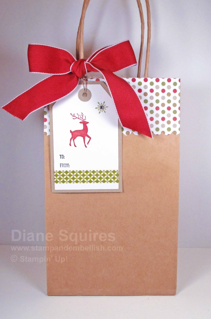 Hand stamped tag with gift bag