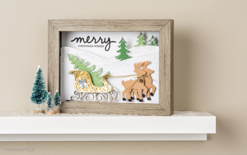 Holiday 3D home decor piece using the Santa's Sleigh Stamp Set and Die Bundle