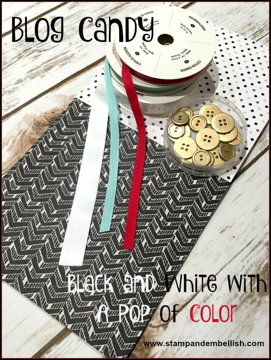 Time for a little blog candy...black and white with a pop of color!