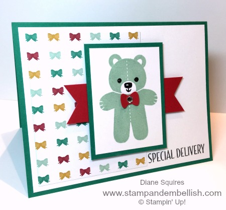 I love it when I can use my holiday stamps all year long! Yep the cute little bear and sentiment are perfect for the new arrival.