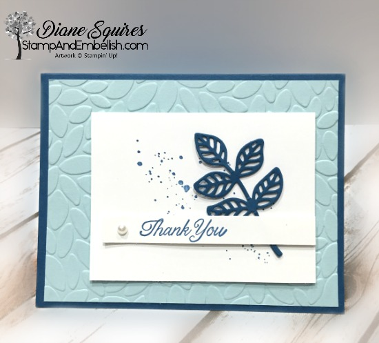 One simple Flourish leaf makes for a simple but pretty card. Visit me at www.stampandembellish for more simple but pretty cards.