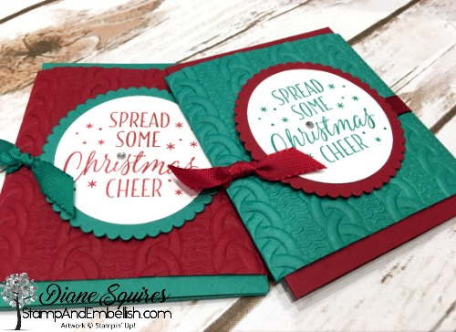 The Cable Knit Dynamic Embossing Folder gives your cards a projects that cozy feel for winter.