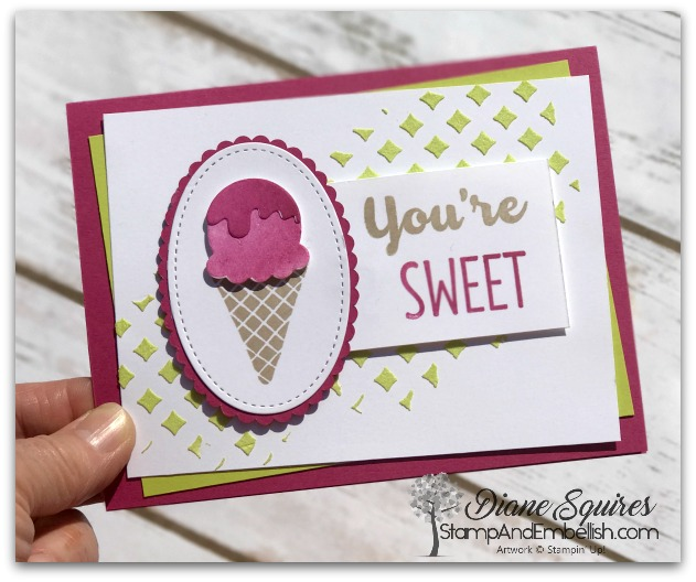 Cool Treats and Colored Embossing Paste makes for a fun card!