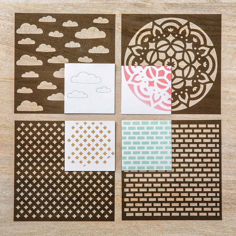 Four Fun Decorative Masks to use with the Stampin' Up! Embossing Paste will let your handmade cards say wow!