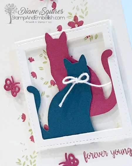 Two cute cats in a stitched picture frame makes for a cute card for lots of occasions