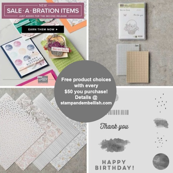 Hot New Sale-A-Bration Items! Choice 1 FREE Item for every $50 you purchase!
