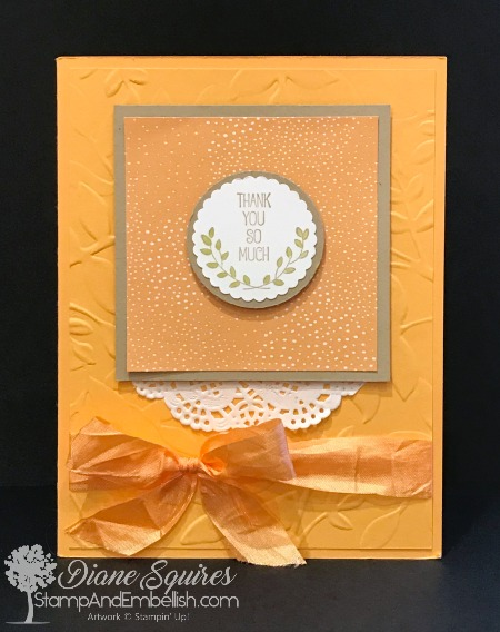 A Good Day stamp set by Stampin' Up! makes the cutest projects. Love the two coordinating scallop punches and the gorgeous ribbon in this project