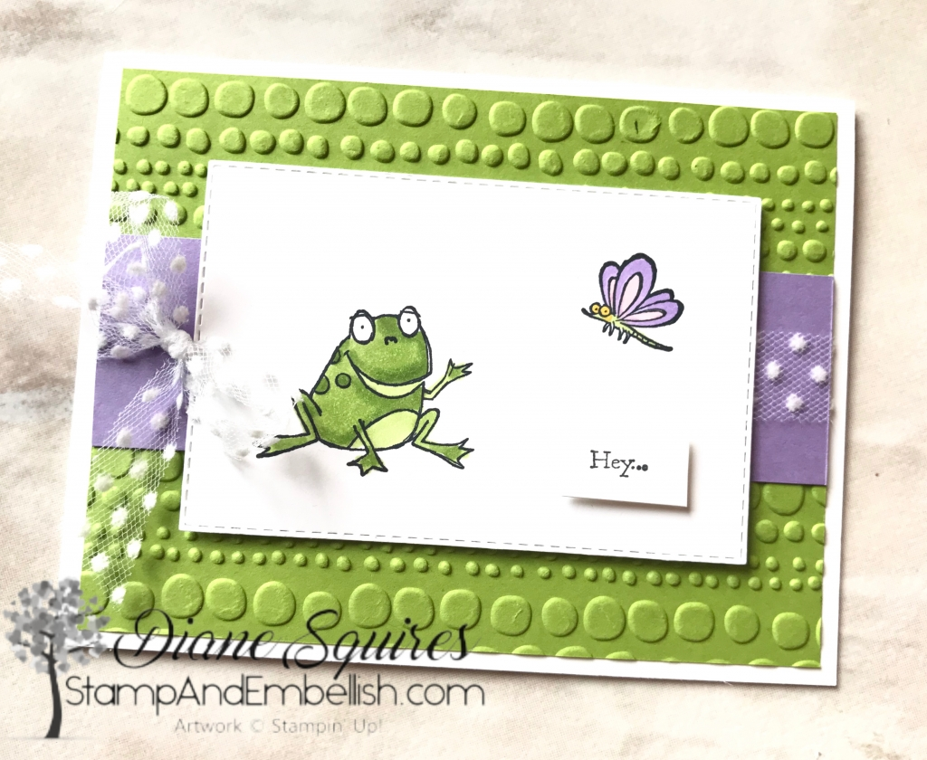 How can you resist this cute little frog! You can't? Well you can get this frog with several others and some cute sentiments for FREE! During Stampin' Up!'s Saleabration you get to choose a free stamp set for every $50 you spend.