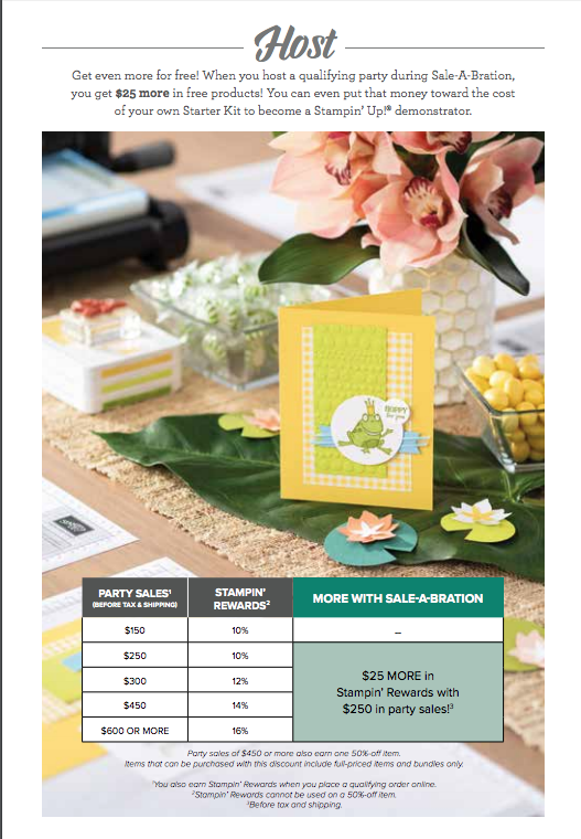 There are two awesome options for your Stampin' Up! starter kit during Saleabration. Each give you $175 in product for only $99 and no Free shipping! You can choose to add a $50 tote for only $30 more! Need more info...contact me. www.stampandembellish.com