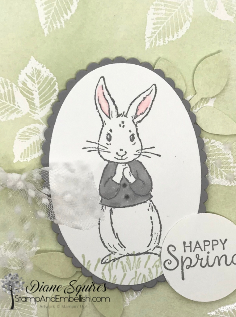 The bunny in the Fable Friends stamp set is adorable. Use him for Easter and spring but know that he will be great for baby cards. Check out all the cut images and sentiments in this set that can be used all year round.
