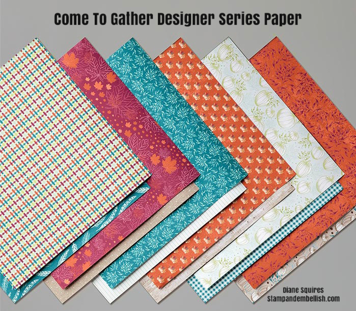 Stampin; Up!'s Come To Gather Designer Series Paper will have you ready to make beautiful fall cards and projects with a beautiful non traditional fall color