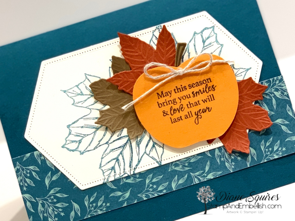 The Stampin' Up! Gather Together Bundle and Come to Gather Designer Series Paper makes for a beautiful fall card. I love the non traditional color Pretty Peacock!
